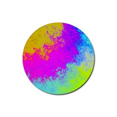 Grunge Radial Gradients Red Yellow Pink Cyan Green Rubber Coaster (round)  by EDDArt