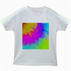 Grunge Radial Gradients Red Yellow Pink Cyan Green Kids White T Shirts by EDDArt