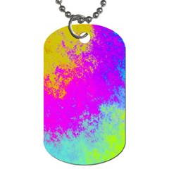 Grunge Radial Gradients Red Yellow Pink Cyan Green Dog Tag (one Side) by EDDArt