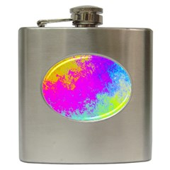 Grunge Radial Gradients Red Yellow Pink Cyan Green Hip Flask (6 Oz) by EDDArt