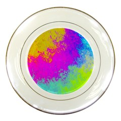 Grunge Radial Gradients Red Yellow Pink Cyan Green Porcelain Plates by EDDArt