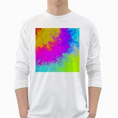 Grunge Radial Gradients Red Yellow Pink Cyan Green White Long Sleeve T Shirts by EDDArt