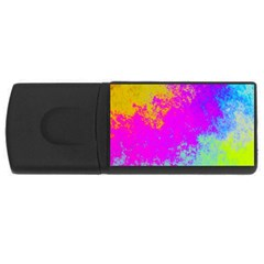 Grunge Radial Gradients Red Yellow Pink Cyan Green Usb Flash Drive Rectangular (4 Gb) by EDDArt