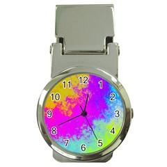 Grunge Radial Gradients Red Yellow Pink Cyan Green Money Clip Watches by EDDArt