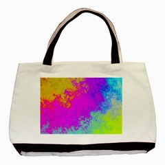 Grunge Radial Gradients Red Yellow Pink Cyan Green Basic Tote Bag by EDDArt