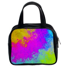Grunge Radial Gradients Red Yellow Pink Cyan Green Classic Handbags (2 Sides) by EDDArt