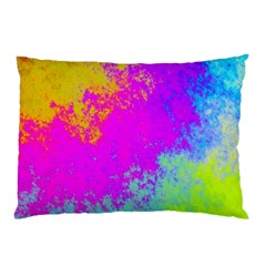 Grunge Radial Gradients Red Yellow Pink Cyan Green Pillow Case by EDDArt