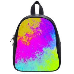 Grunge Radial Gradients Red Yellow Pink Cyan Green School Bags (small)  by EDDArt