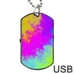 Grunge Radial Gradients Red Yellow Pink Cyan Green Dog Tag Usb Flash (one Side) by EDDArt