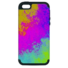 Grunge Radial Gradients Red Yellow Pink Cyan Green Apple Iphone 5 Hardshell Case (pc+silicone) by EDDArt