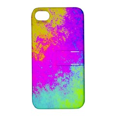 Grunge Radial Gradients Red Yellow Pink Cyan Green Apple Iphone 4/4s Hardshell Case With Stand by EDDArt