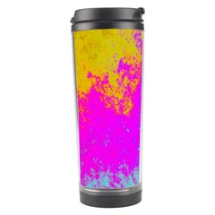 Grunge Radial Gradients Red Yellow Pink Cyan Green Travel Tumbler by EDDArt