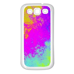 Grunge Radial Gradients Red Yellow Pink Cyan Green Samsung Galaxy S3 Back Case (white) by EDDArt
