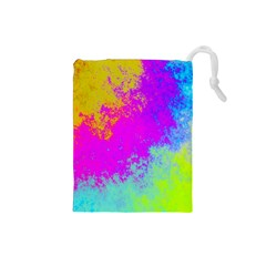 Grunge Radial Gradients Red Yellow Pink Cyan Green Drawstring Pouches (small)  by EDDArt