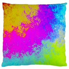 Grunge Radial Gradients Red Yellow Pink Cyan Green Large Flano Cushion Case (two Sides) by EDDArt