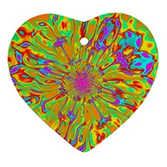 Magic Ripples Flower Power Mandala Neon Colored Ornament (heart) by EDDArt