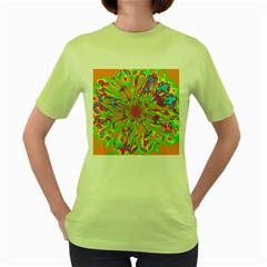 Magic Ripples Flower Power Mandala Neon Colored Women s Green T Shirt by EDDArt