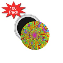 Magic Ripples Flower Power Mandala Neon Colored 1 75  Magnets (100 Pack)  by EDDArt