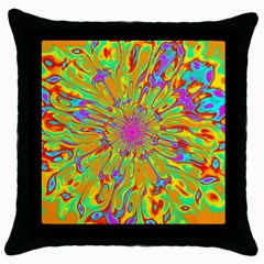Magic Ripples Flower Power Mandala Neon Colored Throw Pillow Case (black) by EDDArt