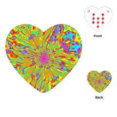 Magic Ripples Flower Power Mandala Neon Colored Playing Cards (heart)  by EDDArt