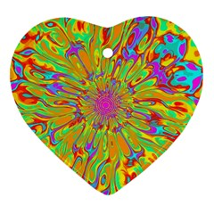 Magic Ripples Flower Power Mandala Neon Colored Heart Ornament (two Sides) by EDDArt