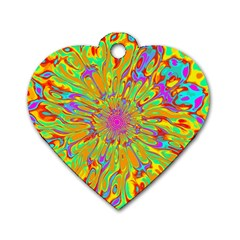 Magic Ripples Flower Power Mandala Neon Colored Dog Tag Heart (one Side) by EDDArt