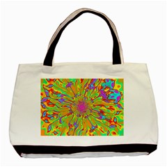 Magic Ripples Flower Power Mandala Neon Colored Basic Tote Bag (two Sides) by EDDArt