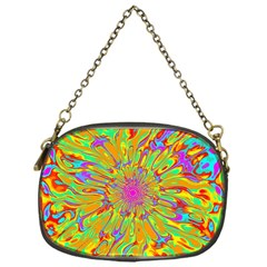 Magic Ripples Flower Power Mandala Neon Colored Chain Purses (one Side)  by EDDArt