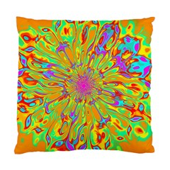 Magic Ripples Flower Power Mandala Neon Colored Standard Cushion Case (two Sides) by EDDArt