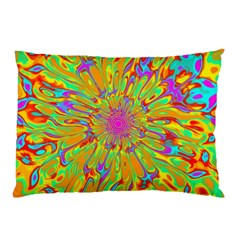 Magic Ripples Flower Power Mandala Neon Colored Pillow Case by EDDArt