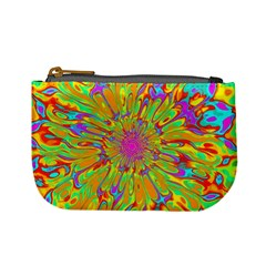 Magic Ripples Flower Power Mandala Neon Colored Mini Coin Purses by EDDArt