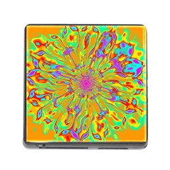 Magic Ripples Flower Power Mandala Neon Colored Memory Card Reader (square)