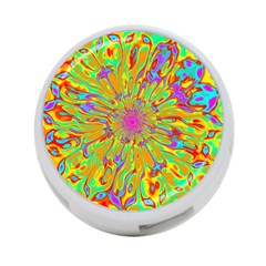 Magic Ripples Flower Power Mandala Neon Colored 4 Port Usb Hub (one Side) by EDDArt
