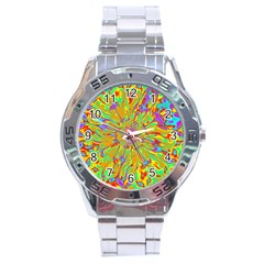 Magic Ripples Flower Power Mandala Neon Colored Stainless Steel Analogue Watch by EDDArt