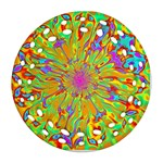 Magic Ripples Flower Power Mandala Neon Colored Ornament (Round Filigree) Front