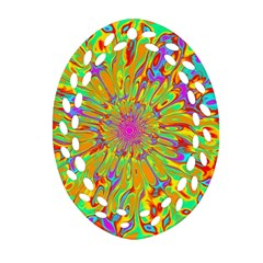 Magic Ripples Flower Power Mandala Neon Colored Ornament (oval Filigree)
