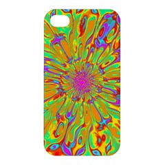 Magic Ripples Flower Power Mandala Neon Colored Apple Iphone 4/4s Hardshell Case by EDDArt