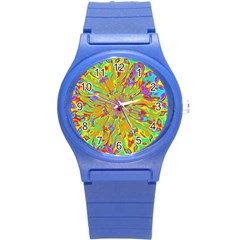 Magic Ripples Flower Power Mandala Neon Colored Round Plastic Sport Watch (s)