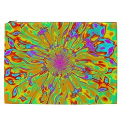 Magic Ripples Flower Power Mandala Neon Colored Cosmetic Bag (xxl)