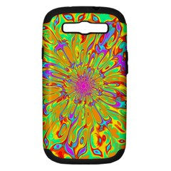 Magic Ripples Flower Power Mandala Neon Colored Samsung Galaxy S Iii Hardshell Case (pc+silicone) by EDDArt