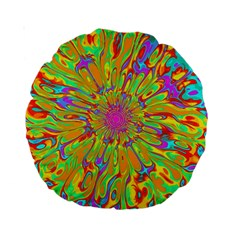 Magic Ripples Flower Power Mandala Neon Colored Standard 15  Premium Round Cushions by EDDArt
