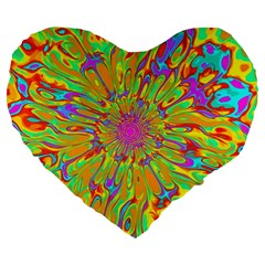 Magic Ripples Flower Power Mandala Neon Colored Large 19  Premium Heart Shape Cushions by EDDArt