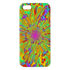 Magic Ripples Flower Power Mandala Neon Colored Apple Iphone 5 Premium Hardshell Case by EDDArt