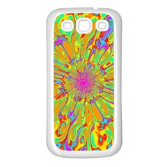 Magic Ripples Flower Power Mandala Neon Colored Samsung Galaxy S3 Back Case (white) by EDDArt