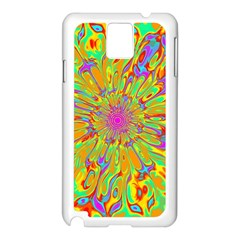 Magic Ripples Flower Power Mandala Neon Colored Samsung Galaxy Note 3 N9005 Case (white) by EDDArt