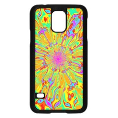 Magic Ripples Flower Power Mandala Neon Colored Samsung Galaxy S5 Case (black) by EDDArt
