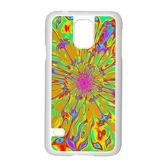 Magic Ripples Flower Power Mandala Neon Colored Samsung Galaxy S5 Case (white) by EDDArt