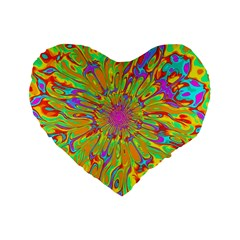 Magic Ripples Flower Power Mandala Neon Colored Standard 16  Premium Flano Heart Shape Cushions by EDDArt