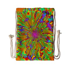 Magic Ripples Flower Power Mandala Neon Colored Drawstring Bag (small) by EDDArt