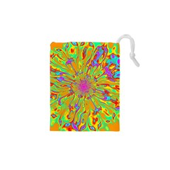 Magic Ripples Flower Power Mandala Neon Colored Drawstring Pouches (xs)